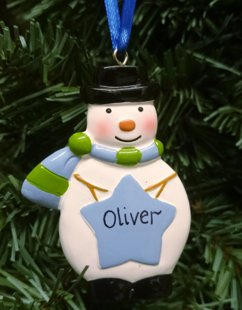 Personalised Snowman with a Blue Star